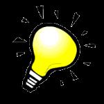 Podpowiedź gdzie znaleźć pożyczkę w internecie - ikonka żarówki. Idea dla osób zadłużonych.